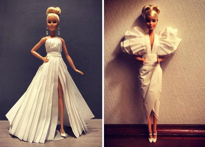 Uomo crea abiti da sposa per le Barbie utilizzando carta igienica e il risultato vi sorprenderà