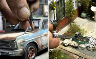 Artista ricrea i suoi ricordi d'infanzia in dettagliati diorami realistici