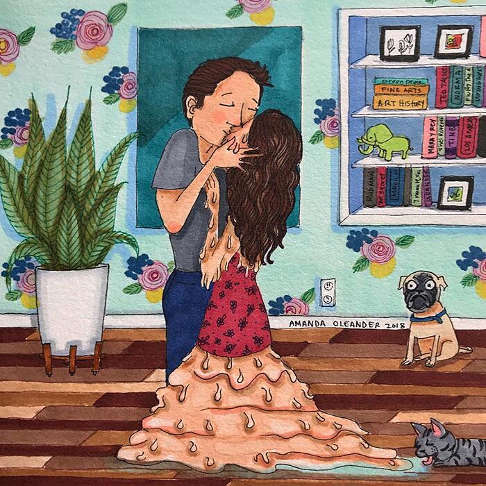 Illustrazioni Amore Coppia Intimità Amanda Oleander