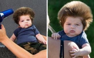 Un adorabile bambino di 2 mesi ed i suoi foltissimi capelli