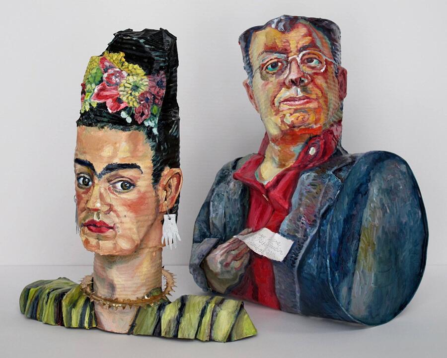 Sculture Materiali Riciclati Ritratti Personaggi Famosi Allan Rubin
