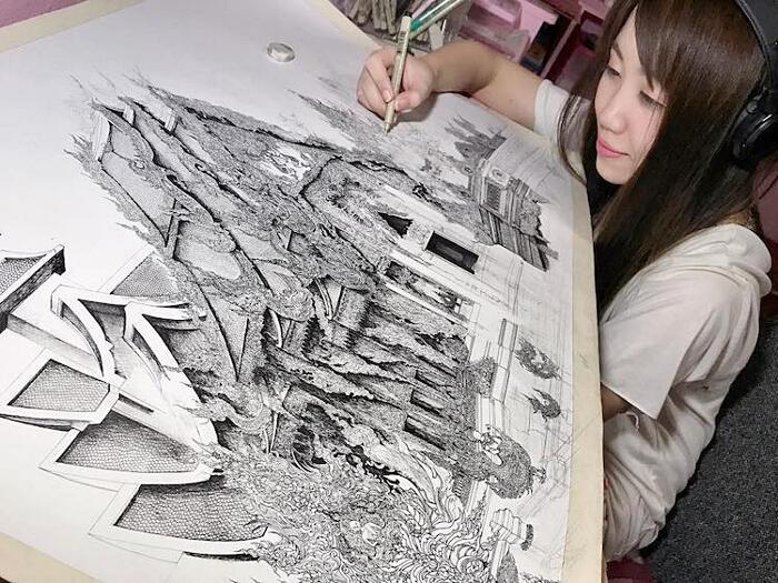 Disegni Ad Inchiostro Edifici Famosi Emi Nakajima