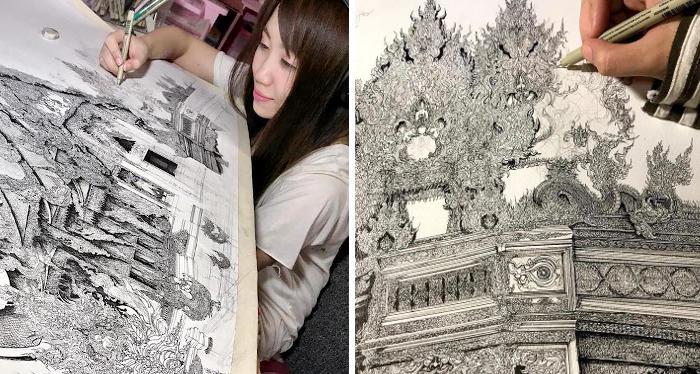Artista tailandese crea intricati disegni di edifici famosi