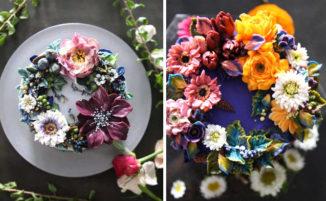 Fiori realistici in crema di burro trasformano semplici torte in piccole opere d'arte