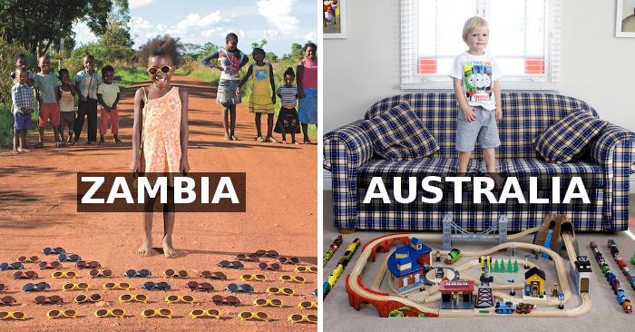 Bambini di tutto il mondo mostrano i loro giocattoli