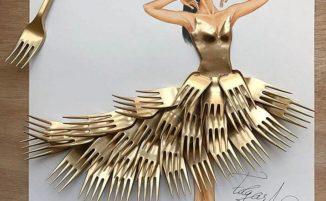 Abiti di alta moda fatti con oggetti comuni nelle nuove illustrazioni di Edgar Artis