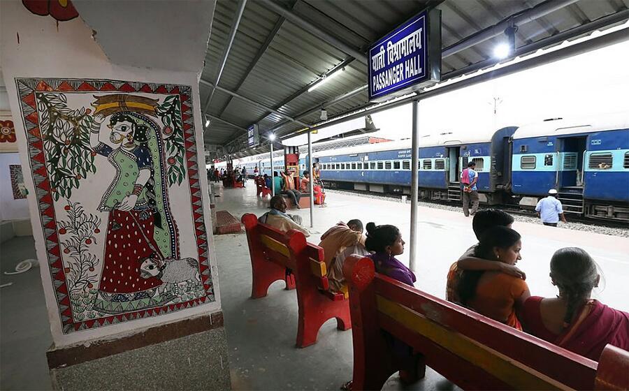 Stazione Ferroviaria Di Madhubani Arte Mithila Street Art India