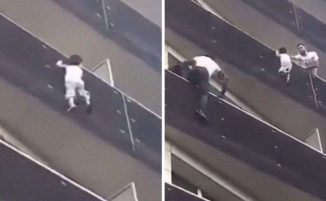 Immigrato africano si arrampica per 4 piani e salva un bambino di 4 anni caduto dal balcone, il video incredibile: