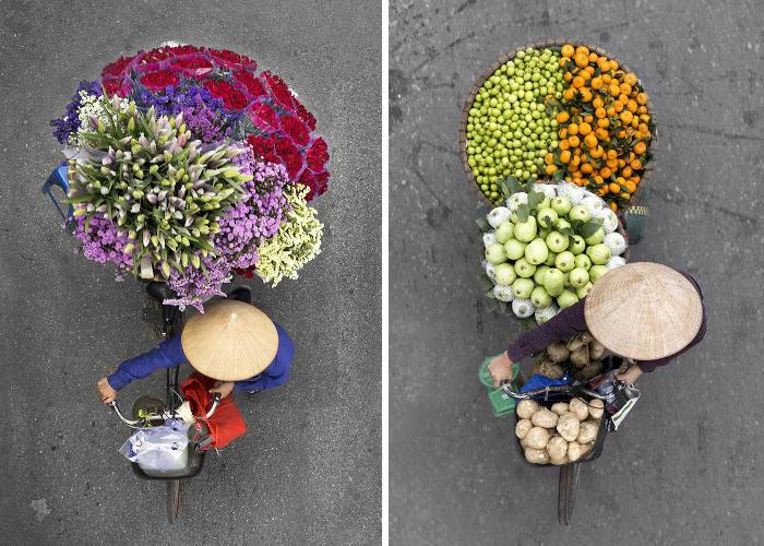 Fotografa trascorre ore sui ponti per catturare colorati ritratti di venditori ambulanti