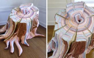 Realistici ceppi formati da tessuti scartati, l'arte del riciclo di Tamara Kostianovsky