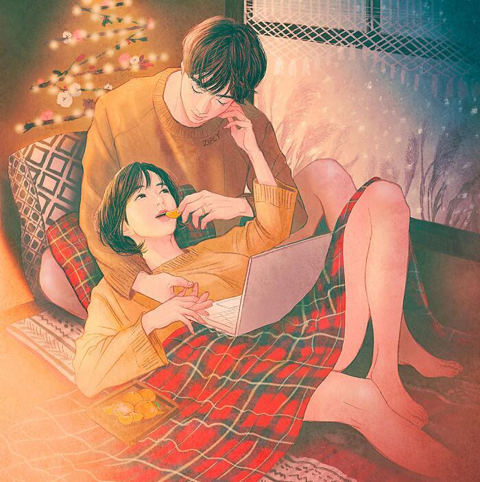 Illustrazioni Amore Intimità Coppia Zipcy