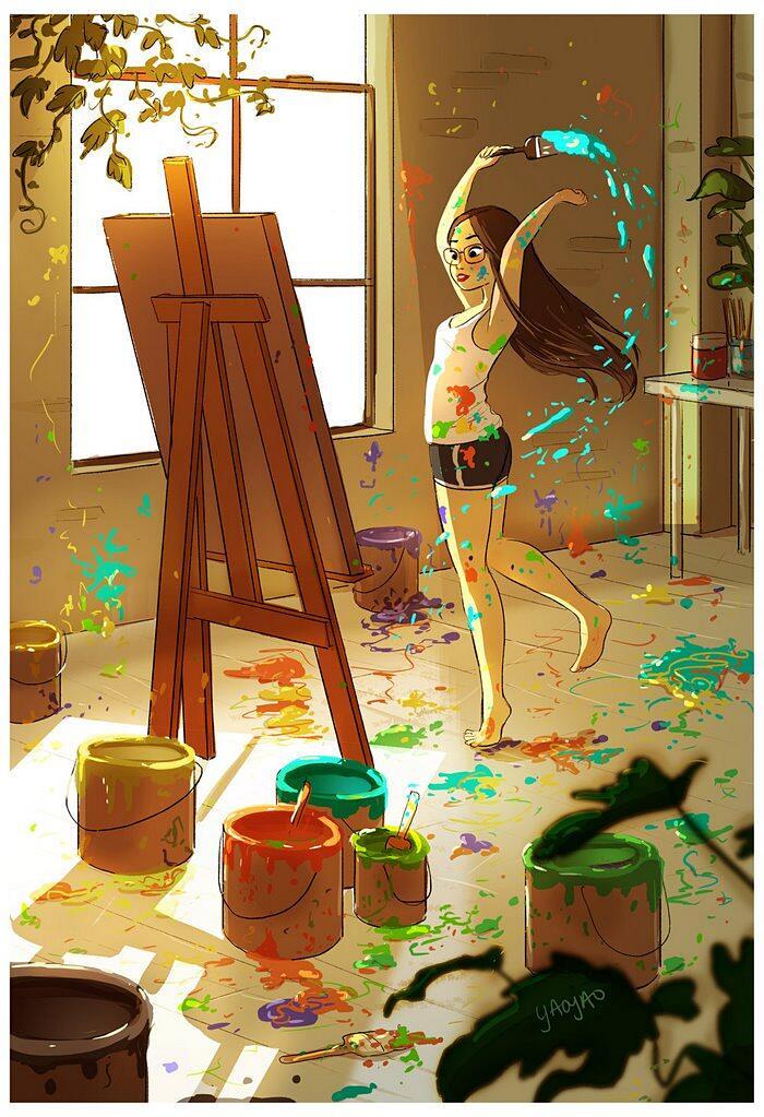 Illustrazioni Mostrano La Bellezza Del Vivere Soli Yaoyao Ma Van As