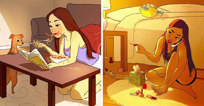 Illustratrice cattura la bellezza del vivere da soli