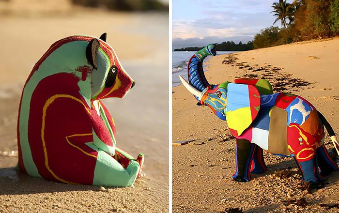 Raccolgono infradito rotte dalle spiagge e creano incredibili opere d'arte