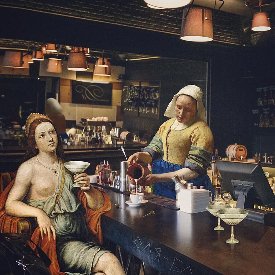 Personaggi dei dipinti classici inseriti nel mondo contemporaneo