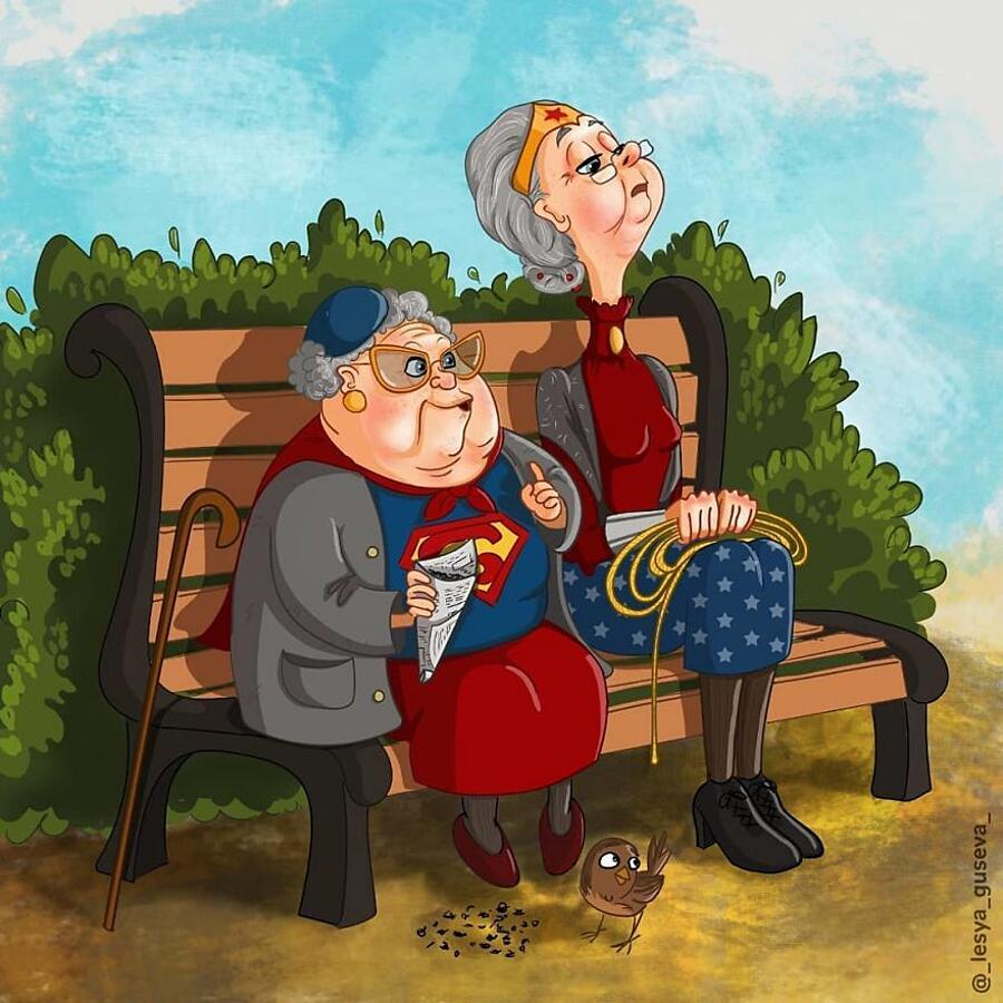 Personaggi Famosi Fumetti Invecchiati Illustrazioni Lesya Guseva