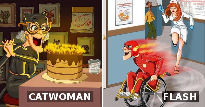 Anche i super eroi invecchiano, grazie alle divertenti illustrazioni di un'artista russa