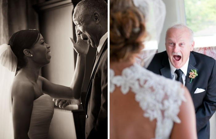 Padri che si commuovono dopo aver visto le figlie in abito da sposa per la prima volta