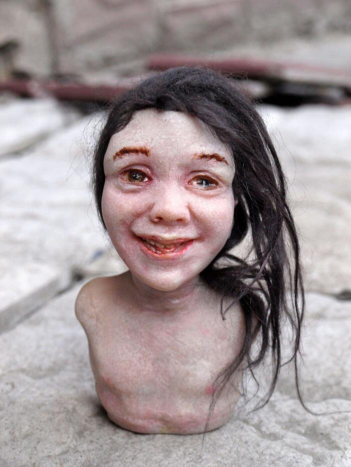 Sculture Volti Inquietanti Polina Verbytska