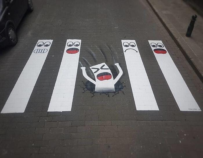 Street Art Strisce Pedonali Francia Oak Oak