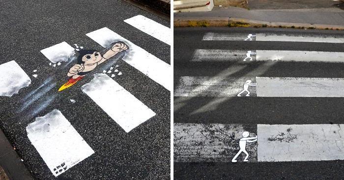 Street artist trasforma le strisce pedonali francesi in divertenti opere d'arte