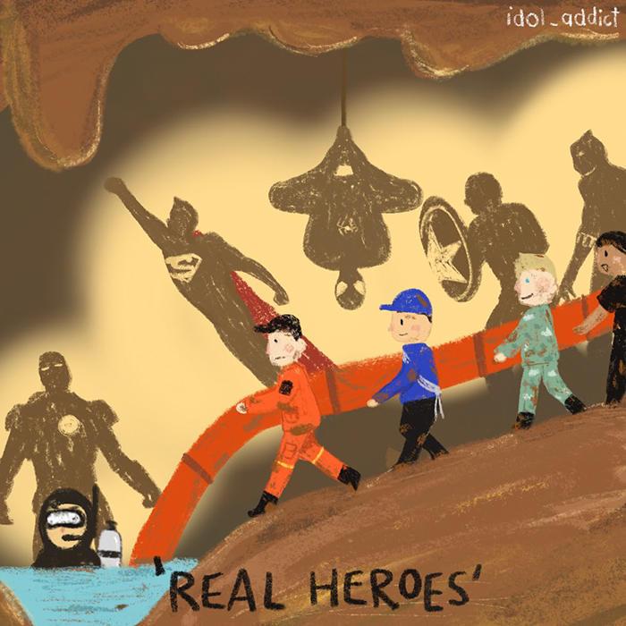 Artisti in tutto il mondo reagiscono al salvataggio nella grotta thailandese con 26 opere d'arte