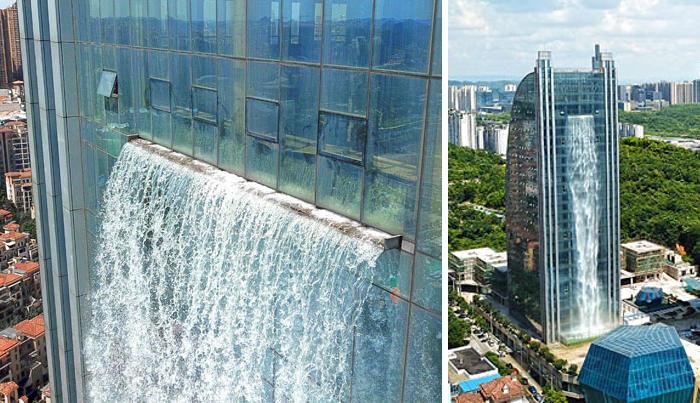 Un'incredibile cascata sospesa su un lato di un grattacielo a 106 metri da terra