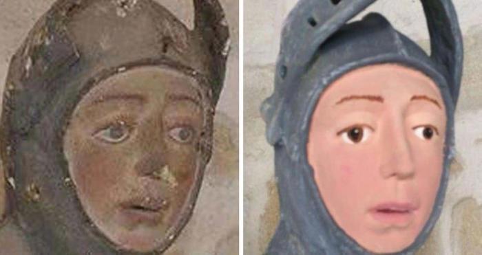 Inestimabile statua del XVI secolo rovinata dal restauro, ora sembra un cartone animato