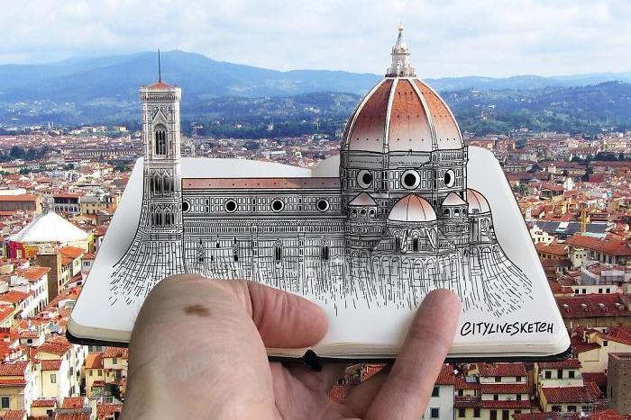 Schizzi di monumenti famosi diventano 3D nelle immagini di Pietro Cataudella