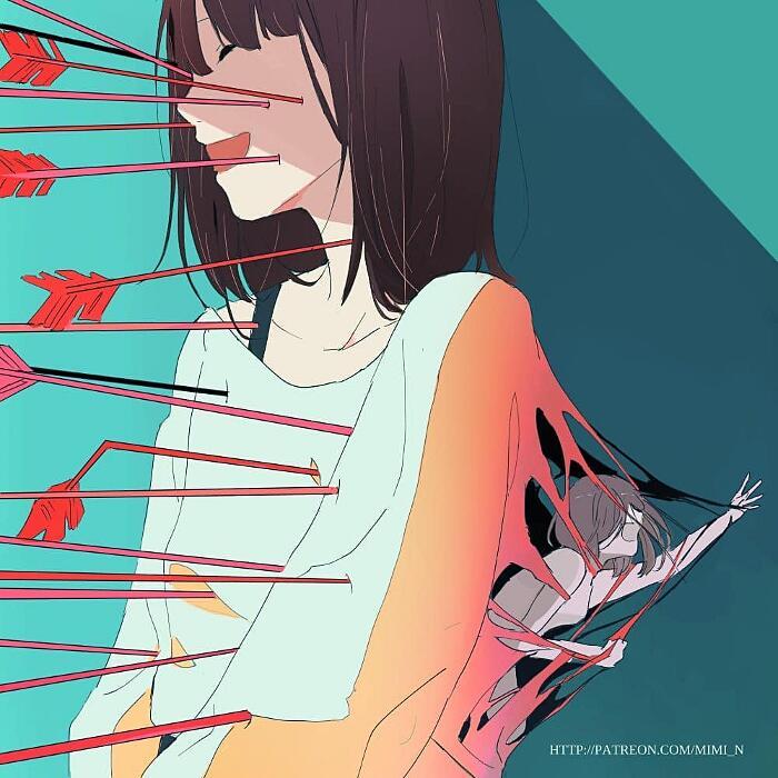 Illustrazioni artistiche dark di Mimi N