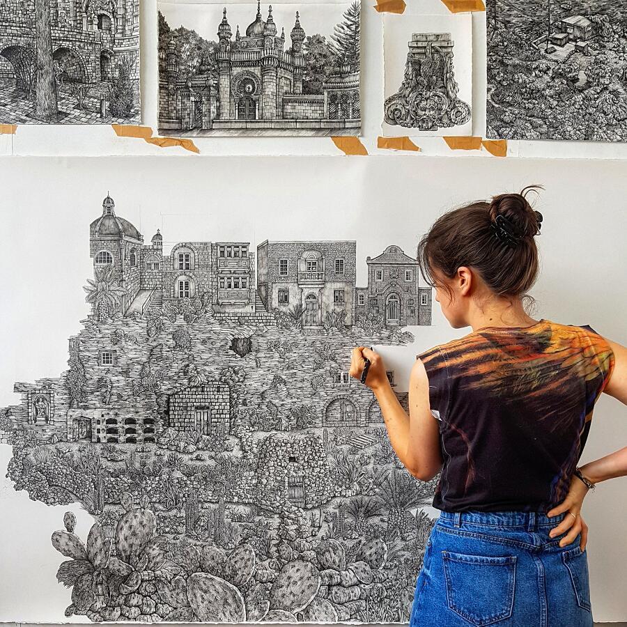 Illustrazioni Architettoniche Di Mondi Immaginari Olivia Kemp
