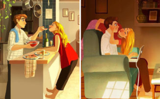 Magiche illustrazioni catturano i momenti d'intimità di una coppia innamorata