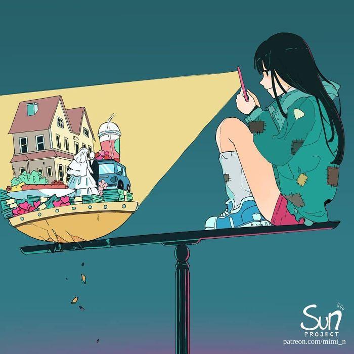 Illustrazioni Criticano Società Moderna Sun Project