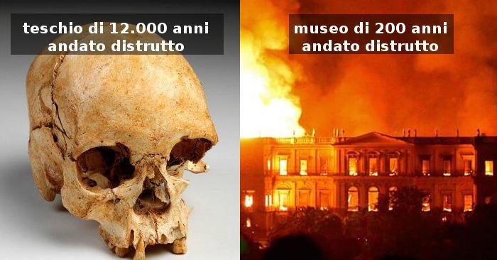 Inestimabili reperti storici distrutti in un gravissimo incendio nel museo più antico del Brasile