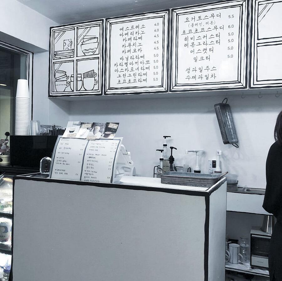 Coffe shop inusuale che sembra nei fumetti o cartoni a Seoul