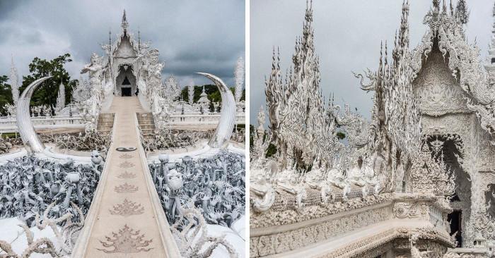 Un incredibile tempio bianco in Thailandia indica la via dall'inferno al paradiso