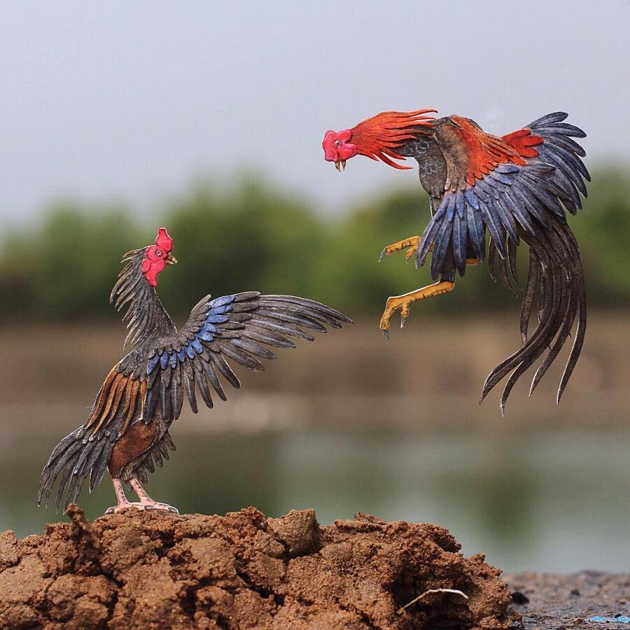 Miniature Di Uccelli In Carta Intagliata Shrimali Chudasama
