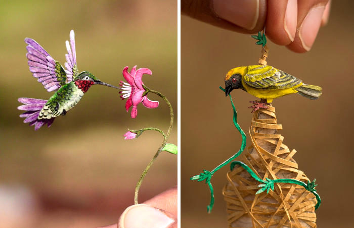 Bellissime miniature di uccelli in carta intagliata