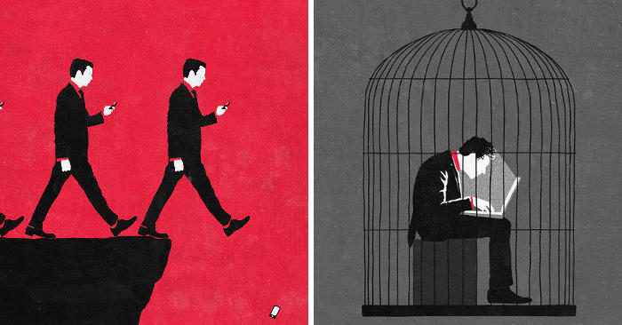 35 stimolanti illustrazioni ispirate alla società contemporanea