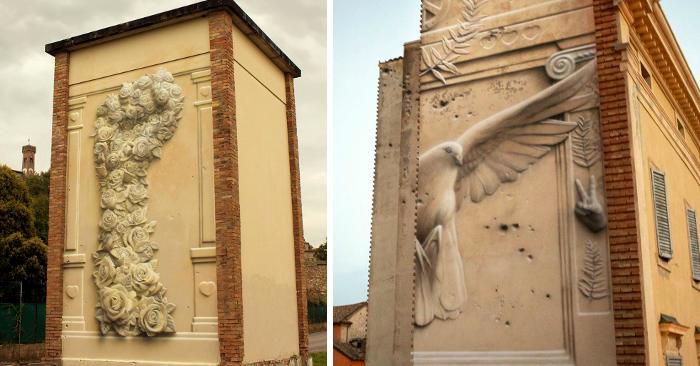 Artista italiano crea bellissimi murales che sembrano bassorilievi