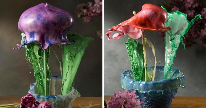 Spruzzi di vernice colorata catturati nel momento in cui sembrano fiori in vaso