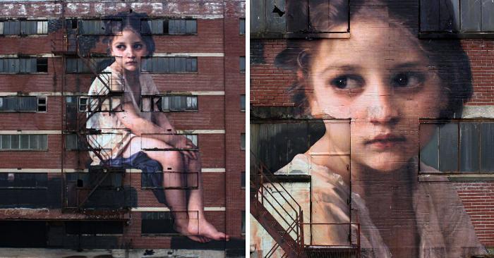 Artista dipinge un'opera neoclassica su un edificio di sette piani