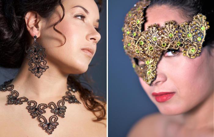L'arte della cartapesta e l'eleganza dei gioielli in pizzo e Swarosvski