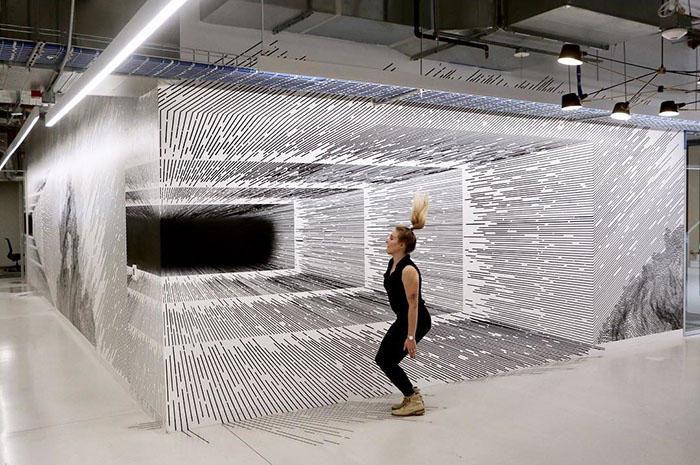 Artista crea incredibili illusioni ottiche utilizzando semplici linee