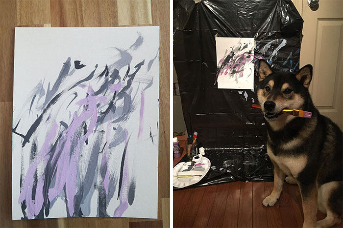 Cane dipinge quadri astratti e li vende su internet, Hunter