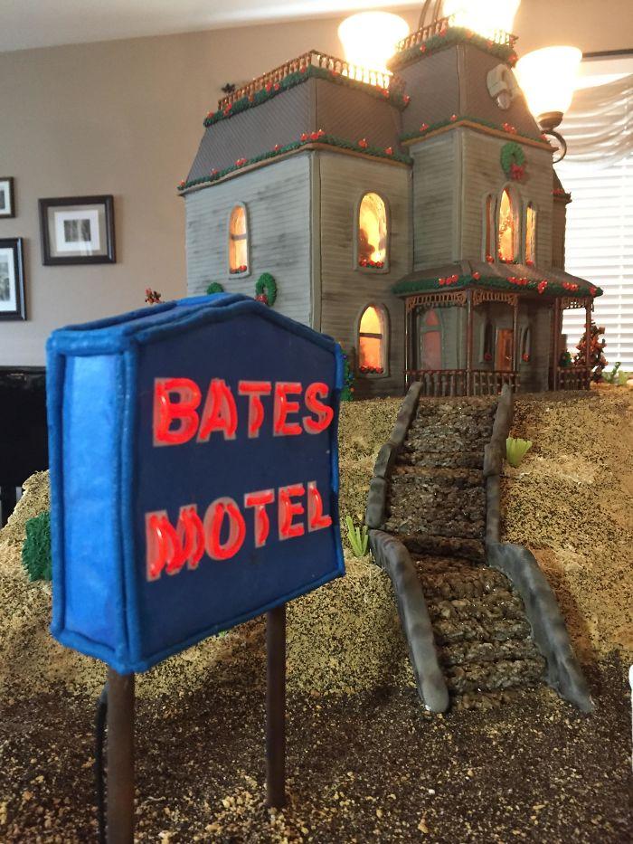 Bates Motel del film Psycho fatto con il pan di zenzero
