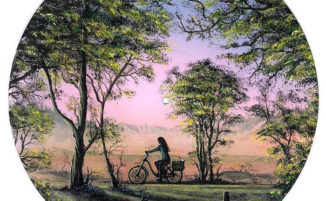 Artista dipinge magnifici panorami naturali su dischi in vinile