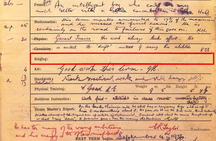 La pagella di John Lennon del 1956