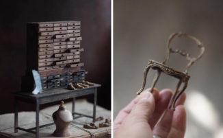 Oggetti di antiquariato in miniatura dai dettagli impeccabili