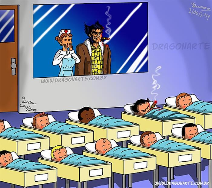 Se i supereroi avessero dei bebè, divertenti illustrazioni di Dragonarte